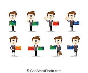 conjunto, de, divertido, caricatura, casual, hombre, en, vario, posturas, para, uso, en, presentaciones