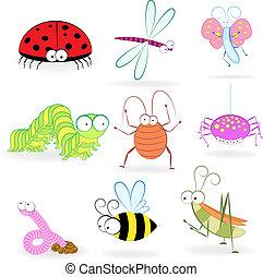 conjunto, de, divertido, caricatura, insectos