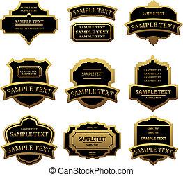 conjunto, de, dorado, etiquetas, y, marcos
