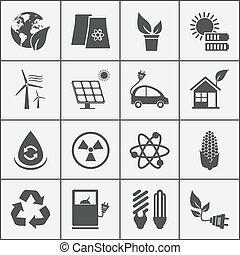 conjunto, de, eco, energía, iconos