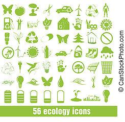 conjunto, de, eco, iconos