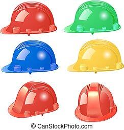conjunto, de, edificio, casco, en, un, fondo blanco