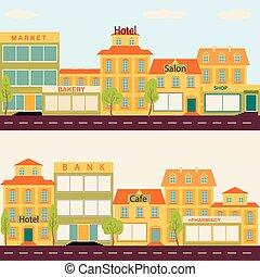 conjunto, de, edificios, en, el, estilo, pequeña empresa, plano, diseño