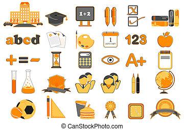 conjunto, de, educación, icono