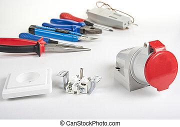 conjunto, de, eléctrico, herramienta, en, de madera, fondo., accesorios, para, ingeniería, trabajo, energía, concepto