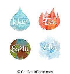 conjunto, de, el, cuatro, naturaleza, elementos, icons., agua, fuego, tierra, aire, símbolos