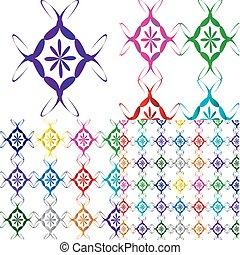 conjunto, de, el, multicolor, ornaments.