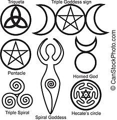 conjunto, de, el, wiccan, símbolos