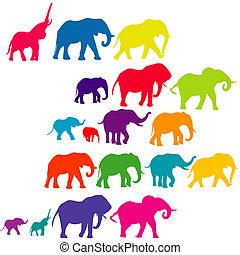 conjunto, de, elefante, coloreado, siluetas