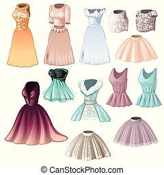 conjunto, de, elegante, womens, vestidos, y, faldas, aislado, blanco, fondo., vector, caricatura, primer plano, illustration.