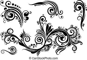conjunto, de, elementos florales