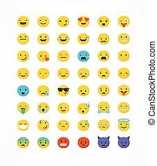 conjunto, de, emoticons, emoji, aislado, blanco, plano de fondo, vector, ilustración