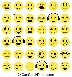 conjunto, de, emoticons., smiley, iconos