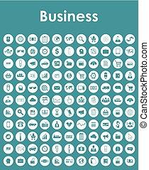 conjunto, de, empresa / negocio, iconos simples