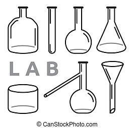 conjunto, de, equipo del laboratorio