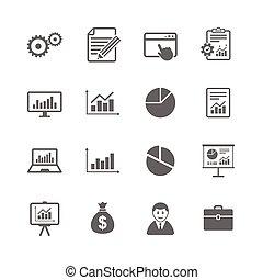 conjunto, de, estadística, contabilidad, y, informe, icons.