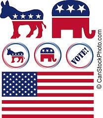 conjunto, de, estados unidos, partido político, símbolos