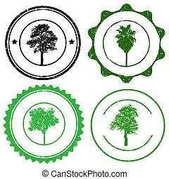 conjunto, de, estampilla, marcas, con, árbol