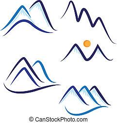 conjunto, de, estilizado, nieve, montañas, logotipo