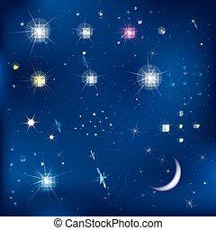 conjunto, de, estrellas, y, luna