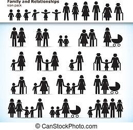 conjunto, de, familia , pictograms