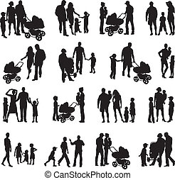 conjunto, de, familia , silhouetted, (vectors)
