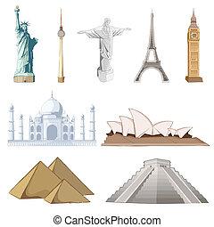 conjunto, de, famoso, monumento, alrededor del mundo