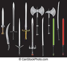 conjunto, de, fantasía, espadas, y, hachas