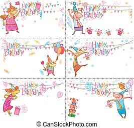 conjunto, de, feliz cumpleaños, tarjetas