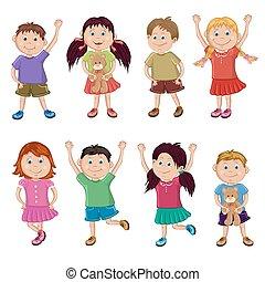 conjunto, de, feliz, niños