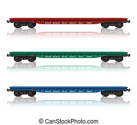 conjunto, de, ferrocarril, flatcars
