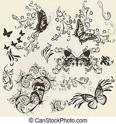 conjunto, de, filigrana, mariposas, con, ornamento, para, diseño