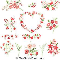 conjunto, de, flor, diseñe elementos