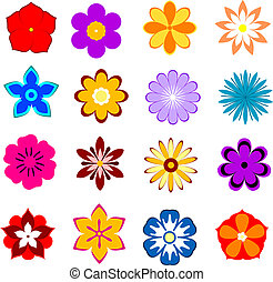 conjunto, de, flor, flores, y, pétalos