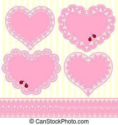 conjunto, de, flor, marco, forma corazón, tarjeta