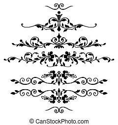 conjunto, de, floral, ornamentos