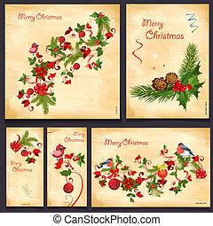 conjunto, de, floral, tarjetas, para, su, diseño