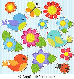conjunto, de, flores, y, aves