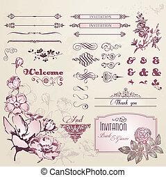 conjunto, de, flores, y, vendimia, elementos