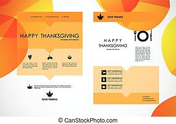 conjunto, de, folleto, cartel, plantillas de diseño, en, otoño, estilo