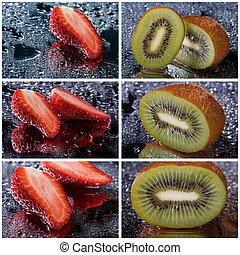 conjunto, de, foto, de, fresas, y, kiwi, con, agua