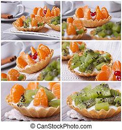 conjunto, de, foto, fruta, tartlets, con, kiwi, y, mandarina