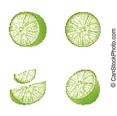 conjunto, de, fruta, cal