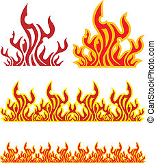 conjunto, de, fuego