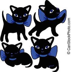 conjunto, de, gatos, siluetas, caricatura
