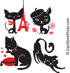 conjunto, de, gatos, siluetas