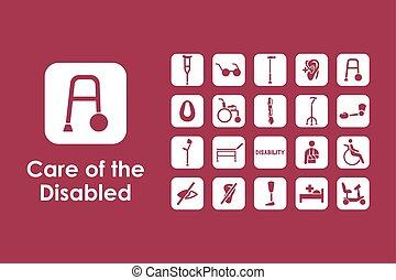conjunto, de, gente, con, incapacidades, iconos simples