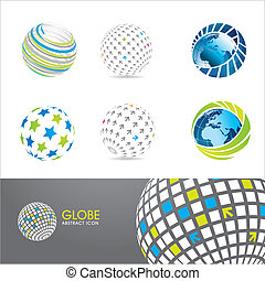 conjunto, de, globo, iconos