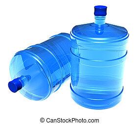 conjunto, de, grande, botellas, de, agua