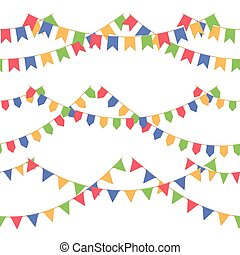 conjunto, de, guirnalda, con, celebración, banderas, cadena, rojo, azul, amarillo, verde, pennons, con, no, plano de fondo, pie página, y, bandera, para, celebración